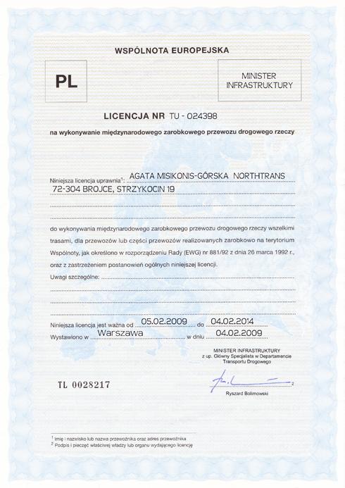Certyfikat Northwood